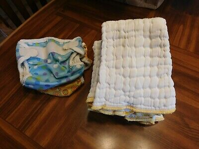 Green Mountain Diapers Cloth Unbleached Small 6 diapers and 2 Bummis Covers