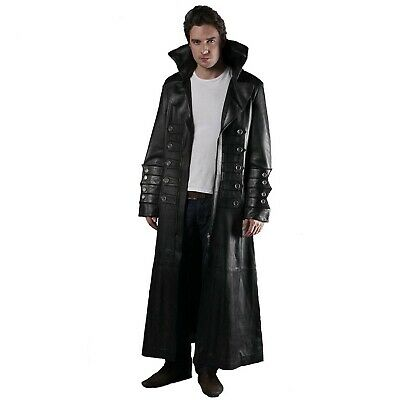 Mens Real Black Leather Gothic Steampunk Matrix Style Van Helsing Trench Coat