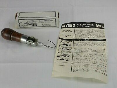 Vtg Antique Myers Famous Lock Stitch Sewing Awl With Original Box Leathercraft