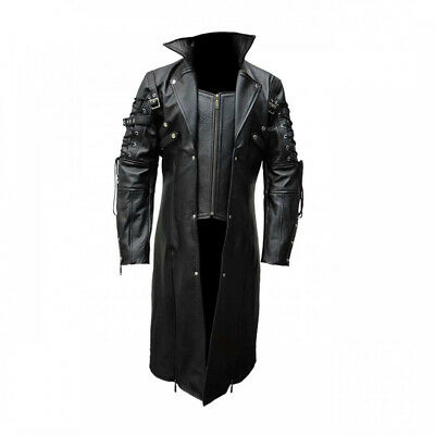 Men Real Black Leather Goth Matrix Trench Coat Steampunk Gothic