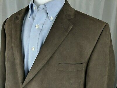 Andrew Fezza Mens 48R Brown 2 Button Blazer Sport Coat Faux Suede Polyester