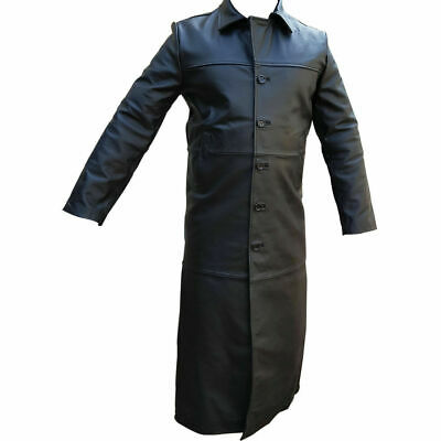 Mens Real Black Leather Trench Coat Sexy Matrix Goth Gothic