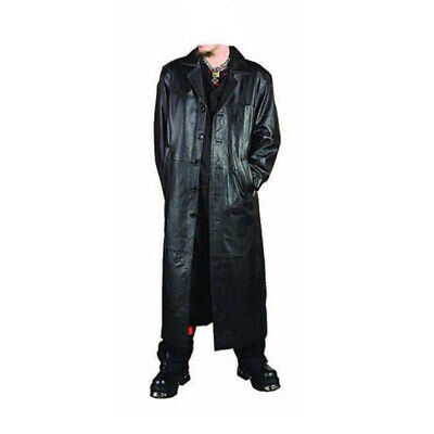 Mens Black Real Leather Goth Gothic Van Helsing Matrix Trench Coat Most Sizes