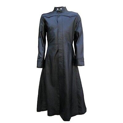 Mens Black Leather Goth Long Coat Steampunk Gothic Van Helsing Matrix Trench