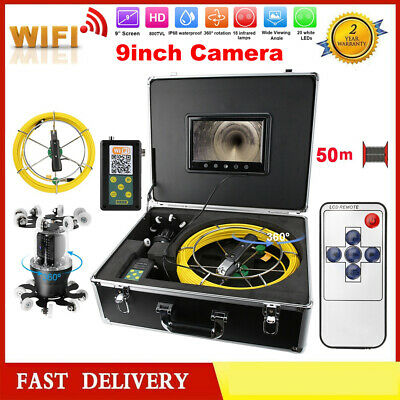 """Pipe Inspection Endoscope Camera Waterproof 9"""" TFT LCD 30/50m WIFI 360° Rotating"""