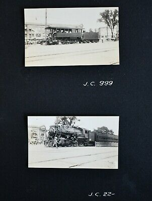 Antique Old Original Vintage Real Photos Train on Tracks Town 1929 JC J.C.