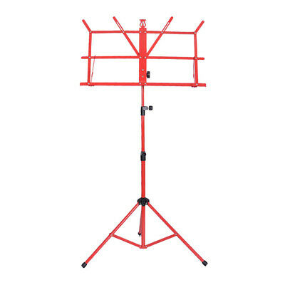 Metal Adjustable Sheet Music Stand Folding Foldable w/ Carry Bag, Red