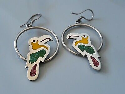 Large Vintage Taxco 925 Sterling Silver & Stone Enamel Inlay Parrot Earrings
