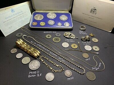 Junk Drawer Estate Lot 925 Sterling Jewelry Gold Tone Silver Coins 1908 O Barber
