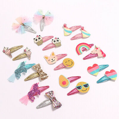 2pc slot set Kid Rainbow Panda Unicorn Hair Clips Girl Cartoon Animal BB Clip