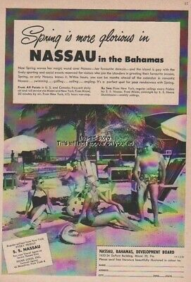 1952 Spring More Glorious in Nassau Bahamas-Beach Photo-50s Travel-Vacation Ad