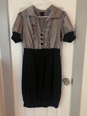 Torrid 0x Satin Tuxedo Top Dress Grey Black Plus Size