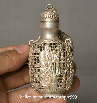 7CM Rare Old China Miao Silver Dynasty Shou Immortal God Snuff Bottle