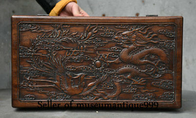 40CM Ancient Chinese Huanghuali Wood Dynasty Dragon Phoenix jewelry Box Cabinet