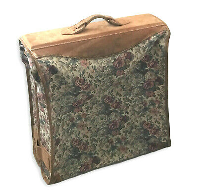 Vintage French Luggage Co Rose Tapestry Suede Handcrafted Suitcase Garment Bag