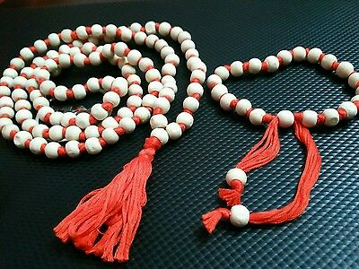 TULSI JAPA MALA Prayers Wood Orange Spiritual Rosary