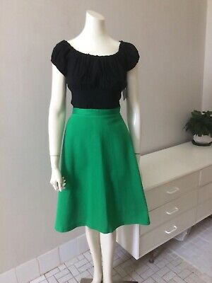 Original Vintage 70s Skirt ,Kelly Green , A-Line Retro Skirt , Boho Hipster