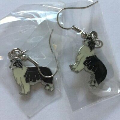 Border Collie Dog Drop Dangle Earrings Black & White Enamel Pierced
