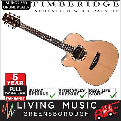NEW Timberidge Left Handed Solid Spruce Top Acoustic-Electric Small-Body Guitar