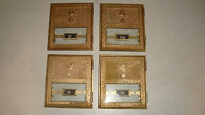"Lot of 4 BIG Vintage Post Office Box PO Box Door 6 1/4"" by 5 1/2"" with Glass"
