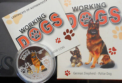 Tuvalu 2011 Working Dogs German Shepherd Silver (1oz)   $1 Proof Coin