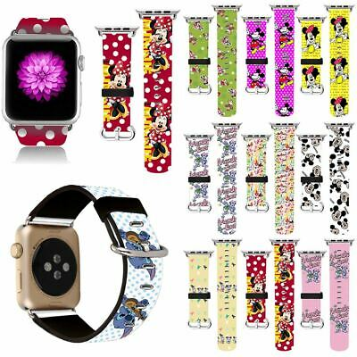 Cute Mickey Mouse Leather Bracelet Band Strap Sport For Apple Watch Series 1234