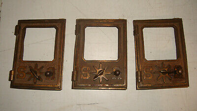 "Rare AM. P.O. Co. Brass Lot 3 US VTG Post Office Box Door 5""x 3 5/8"" No glass"