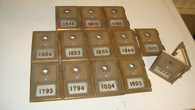 Lot of 13 Vintage ORO 1959 US Post Office Brass PO Box Door Doors Missing locks