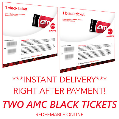 AMC Theatres 2 (Two) Black Movie Tickets No Expiration INSTANT DELIVERY 24/7! ⚡
