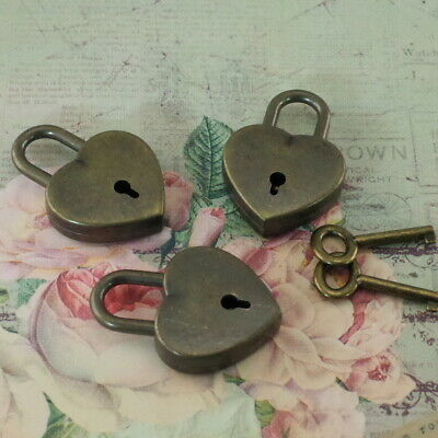 Old Antique Vintage Style Small Padlock Key Locks - Antique Bronze (Lot of 3)