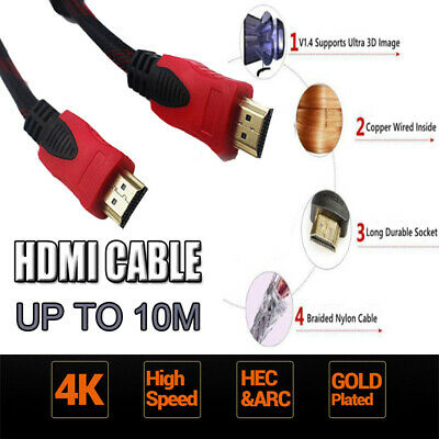 4K 1080P HDMI Cable High Speed 3D Ultra HD with Ethernet HEC ARC Braided Cable