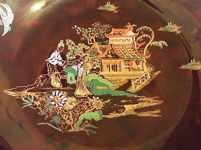 """Carlton Ware Chinoiserie-Mikado Red Lustre-Hand Painted 10"""" X8""""-Gold Gilded Bowl"""