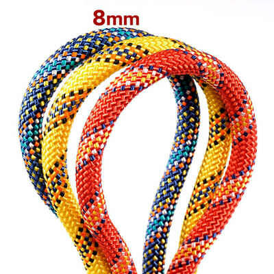 20M 8mm Climbing Rope Auxiliary Outdoor Resue Safety Protect Wear Resistant Rope