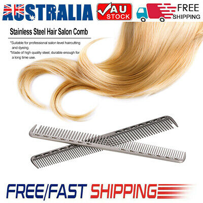 Professional  Salon Hairdressing Comb Stainless Steel Hair Cutting Metal R3D6
