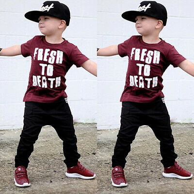 Toddler Kids Baby Boy Short Sleeve Tops T-shirt Pants 2Pcs Clothes Outfits Sets