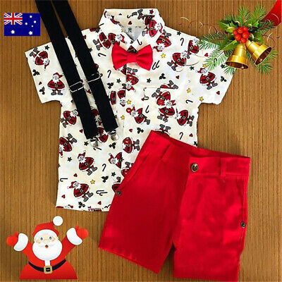 AU Stock Toddler Kids Christmas Red Santa Outfits Shirt Top Short Pants Clothes