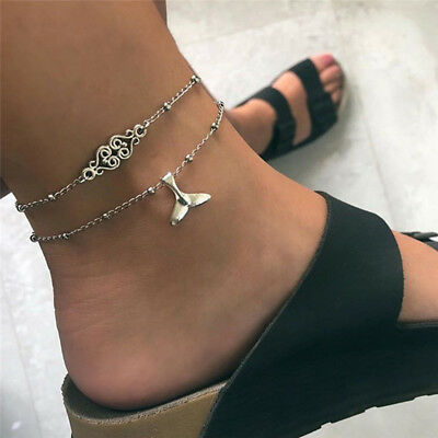 Multilayer Fish Tail Silve Anklet Ankle Bracelet Barefoot Sandal Beach Jewelry I