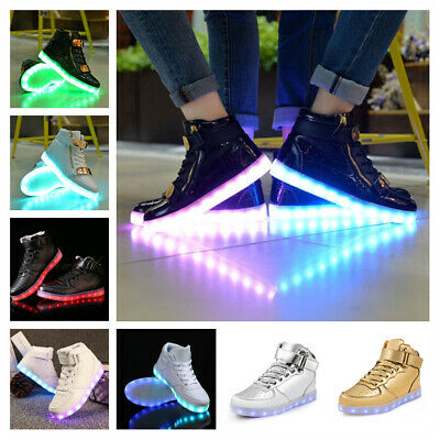 LED Shoes Light Up Luminous Flash Trainers Sneakers High-Top for Kids Men Women