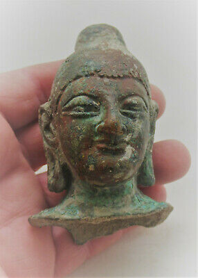 Scarce Ancient Gandharan Bronze Head Of Bodhisatva Statue Fragment 200-300Ad