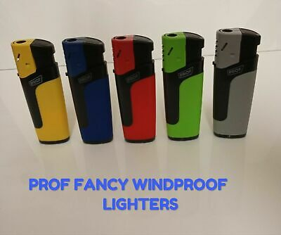 Prof Fancy Windproof Jet Lighters, Refillable Lighters In 5 Colours