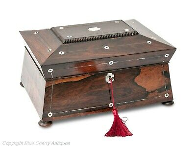 Antique 19th Century Rosewood & Mother of Pearl Ladies Work Box with Lock & Key