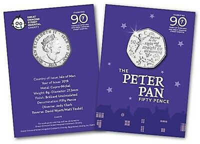 Isle Of Man 2019 Peter Pan 50p Fifty Pence Brilliant Uncirculated Coin BU