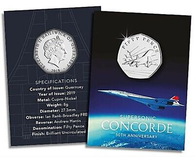 2019 Concorde 50p Fifty Pence Brilliant Uncirculated Coin Bailiwick Of Guernsey