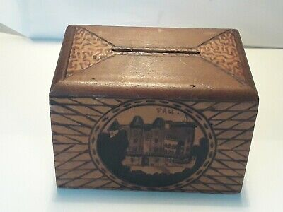Antique Wood Money Box Handmade French Pyrography Wood Burning Château de Pau