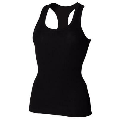 Skinni Fit Stretch Racerback Tank Top Women Longer Length Sleeveless Vest UK