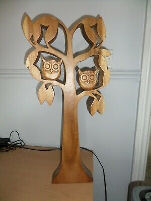Hand Made Owls in a Tree Wood Carving Wooden