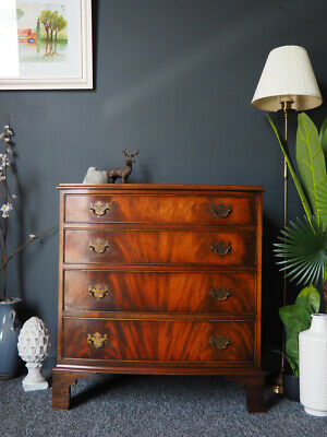 Antique Bevan & Funnell Reprodux Bow Fronted Mahogany Chest of Drawers
