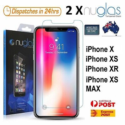 2X NUGLAS Tempered Glass Screen Protector for iPhone X XS XR XS MAX