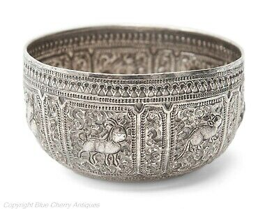 Antique Siamese Silver Thabeik Repousse Bowl with Stylised Animals