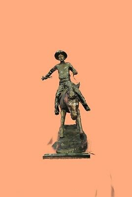 """Arizona Cowboy"" On Horse Large Frederic Remington Bronze Sculpture Signed Figu"